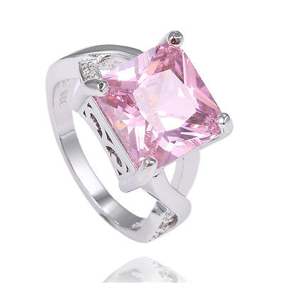 Fashion 1pc Sterling Silver Pink Gemstone Charming Womens Ring size7