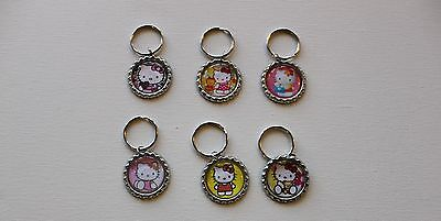 Hello Kitty bottle cap key chains Lot of 6 party favors charms Free Shipping! C