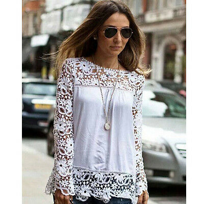 New Women Sexy Fashion Long Sleeve Embroidery Lace Crochet T Shirts Top Blouse