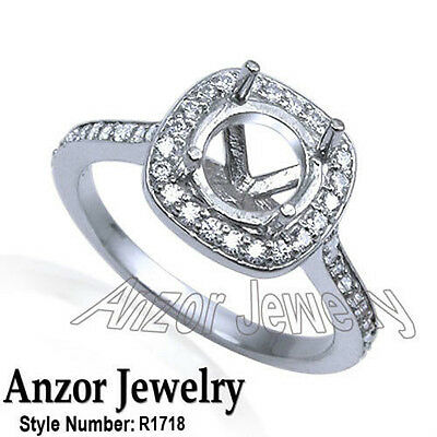 Platinum 950 Pave Diamond Engagement Ring Setting in Sizes 4 to 9.5 #R1718