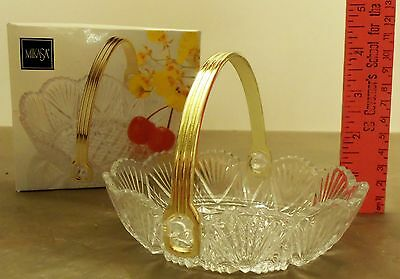 New In Box Mikasa Georgetown Glass Dish w/ Scalloped Edges and Goldtone Handle
