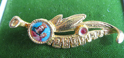 Vintage Madonna Child Red Rhinestone Gold tone Leaf Brooch Pin Holy Mary  3a 17