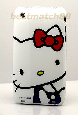 for iphone 3g 3gs hello kitty case cover cute blue and white with red bow//