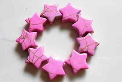 50Pcs 13mm Pink Drawbench Star Acrylic Spacer Loose Beads DIY Jewelry Findings