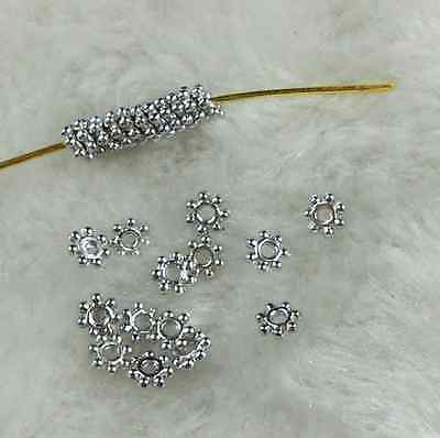 200Pcs ~4mm Dull Silver Plated Tiny Daisy Spacer Loose Beads # Jewelry Findings