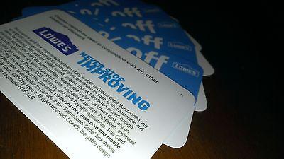 4 Lowes 10%-Off-Coupons Exp 5/7/2015 Blue Cards Use @ Lowes or Home Depot