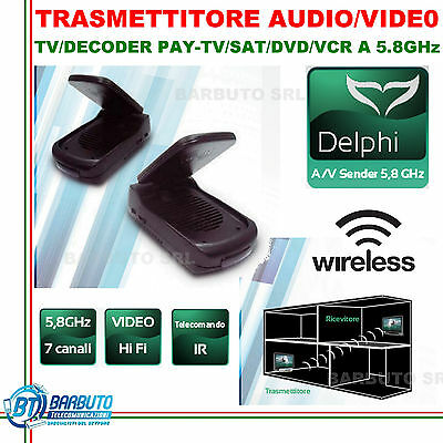 TRASMETTITORE RIPETITORE AUDIO VIDEO 5.8Ghz DELPHI PER TV/DECODER PAY-TV/SKY
