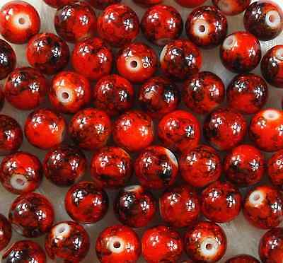 200Pcs 4mm Dark Red Round Pearl Glass Spacer Loose Beads  W47