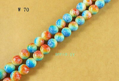 200Pcs 4mm Lampwork Round Czech Glass Crackle Spacer Loose Beads  Free Ship