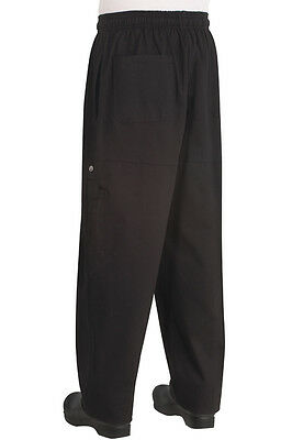 Chef Works 100% Cotton Black Relaxed Fit Cargo Pants Cpbl