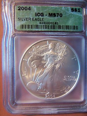 2004 American Silver Eagle 1 Oz Coin ICG MS 70 Green Label