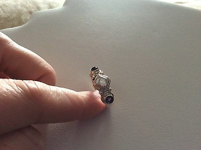 VINTAGE STERLING SILVER AMETHYST AND CLEAR STONE RING - SIZE 8 1/2 - BEAUTIFUL