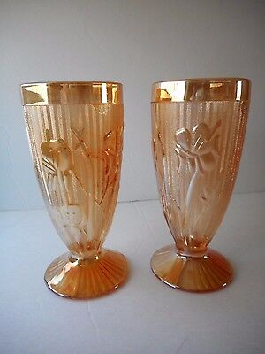 """Lot of Two 6"""" Iridescent Iris Tumblers by Jeannette Glass Co"""