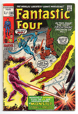 Fantastic Four Vol 1 No 105 Dec 1970 (VG+) Marvel, Bronze Age (1970 - 1979)