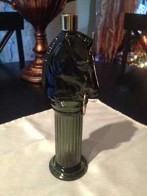 Vintage Pony Post Avon Decanter After Shave Green with Gold Ring