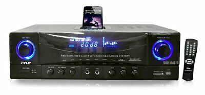 Pyle Audio PYLPT4601AIUB Home 500W Stereo Receiver AM-FM Tuner Docking Station