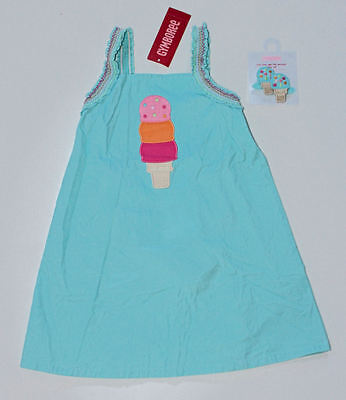 GYMBOREE Girl Popsicle Party Blue Ice Cream Cone Dress Hair Clips Sz. 3T 3 B2