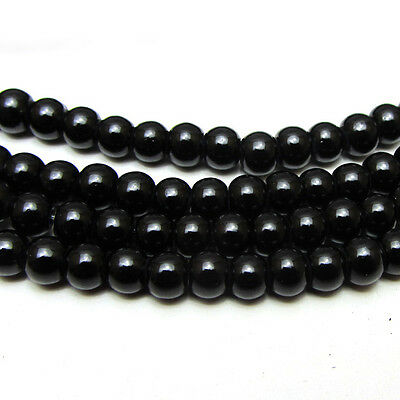 New 4MM 150pcs Charm Round  Beads Glass Spacer Pearls Black Color