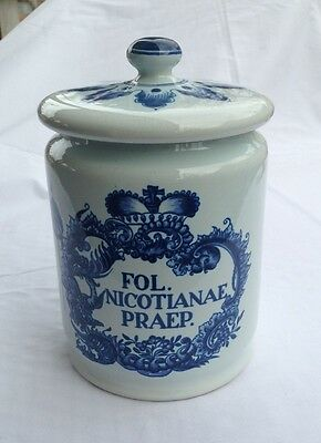DELFT OUD Ceramic Tobacco Canister Apothecary Jar - Fol. Nicotianae Preap.