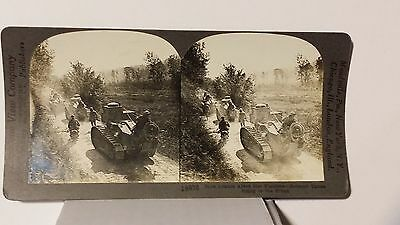 WWI, Renault Tanks Going to the Front, France, Keystone Stereoview