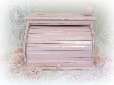 Vintage Shabby Cottage Chippy Chic Pink Large Wood Bread Box Country Kitchen