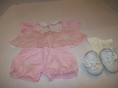 Cabbage Patch Doll Clothing~1980s~Pink/White Dress-Pants-Socks~Labels~Shoes~E5