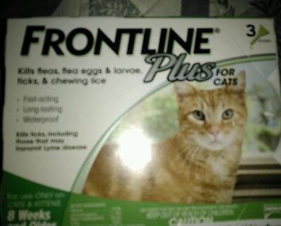 Frontline Plus for Cats 8 mo. and older, Flea Spot-On, 3 pk. (3 applications)