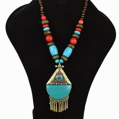 Cleopatra's Gem Turquoise & Red Bronze Egyptian Bead Collar Necklace Tribal Bib