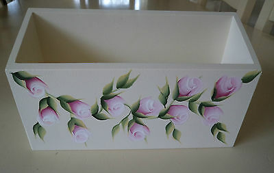 Hand Crafted and Hand Painted Pink Rosebud Single Letter Rack