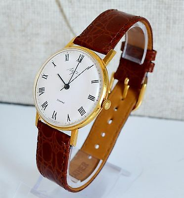 Men's Deluxe Vintage Watch LUCH Gold-plated USSR, Rare Luxury Soviet Watch
