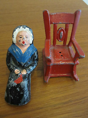 Amish Woman & Rocking Chair Cast Iron Salt & Pepper Shakers Vintage Hand Painted