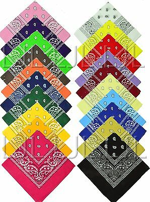 Lot Of 12 Paisley Print Scarf Bandana 100% Cotton 1 Dozen 12 Colors Wholesale