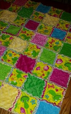 Baby Rag Quilt Blanket - Flannel Cotton & Minky Adorable Frogs Unisex Baby Gift!