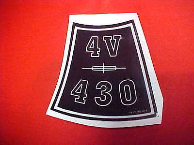 1963-1965 Lincoln Continental 430 Motor 4BBL AirBreather Decal