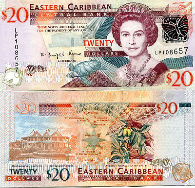 EAST CARIBBEAN STATES 20 DOLLARS ND(2008) P-49 UNC