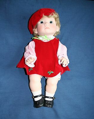 "Lee Middleton 1979 Christmas Angel Doll 14"" - Red Velvet Outfit - Signed"