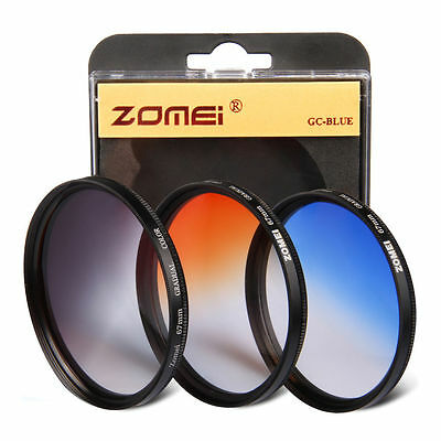 Zomei 58mm Graduated grey blue orange filter kit for cannon Nikon camera