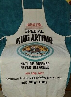 Heavy Canvas Fabric King Arthur Flour Sack Apron Full Bib 38x28""