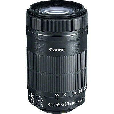 NEW Canon EF-S 55-250mm f/4-5.6 IS STM Lens for DSLR Cameras Front + Rear Caps