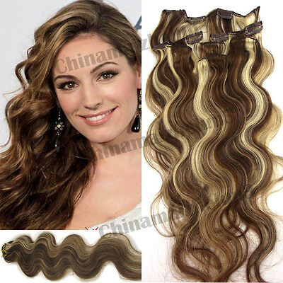 18inch 7pcs 70g #6/613 Clip in Remy Real Human Hair Extension Wavy Curl New Come