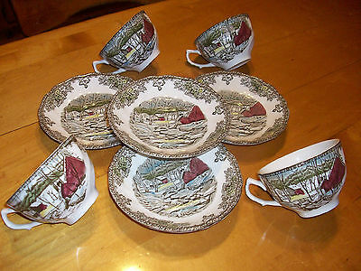 Johnson Bros - Friendly Village - Set of 4 - Cups & Saucers - The Ice House