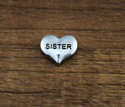 ~hot 10pcs SISTER wholesale Floating Charms for Glass Memory Locket necklace e4