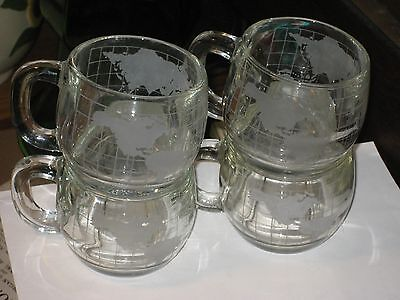 SET OF 4 VINTAGE 1970'S NESTLE WORLD GLOBE ETCHED HOT COCOA CUPS MUGS