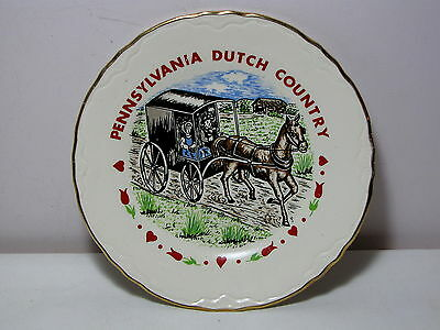 Vintage Souvenir Plate Pennsylvania Dutch Country Amish Horse & Buggy
