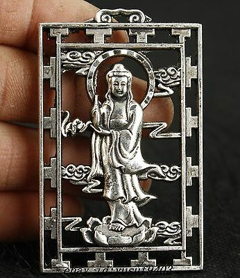 TIBET SILVER CHINESE COLLECTABLE HANDWORK CARVED BUDDHA KWAN-YIN PENDANT