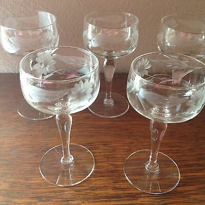 Set of 5 Cut Glass Flowers Vintage Cordial Glasses Circa 1950's