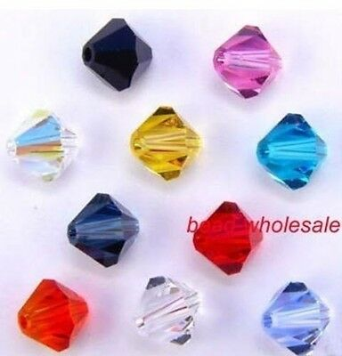 100pcs Wholesale Bicone Mixed Color Loose Glass Crystal Spacer Beads 4mm