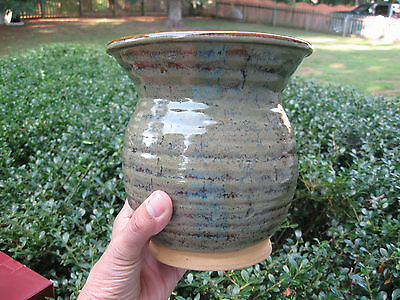 "Studio Pottery Vase Signed Harvey ? Haney ? 6 3/4""s tall 6 1/2""s wide Br / Green"
