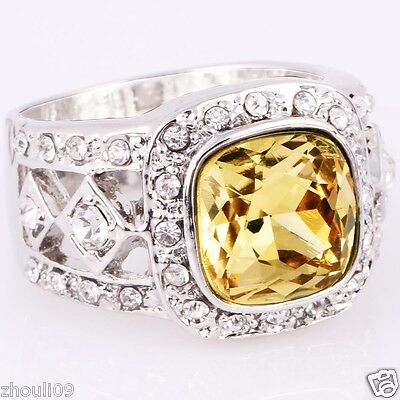 NEW size 10 Exquisite topaz 9KT White Gold Filled 5ct Ring Christmas day gift