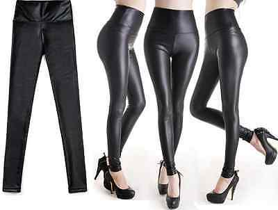 Fashion Womens Faux Leather Look High Waist Leggings Pants Size XS/S/M/L
